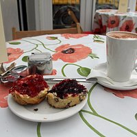 Scone and hot chocolate