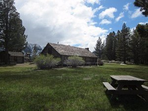 Here's a view of Hayden Cabin with the Sherwin range in the distance.
