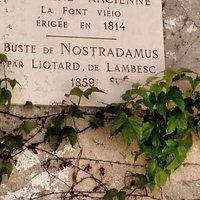 Placa descritiva da Fonte erguida em homenagem a Nostradamus em Saint-Remy-de-Provence .