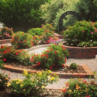 The rose garden adjacent to the Lebel Mansion