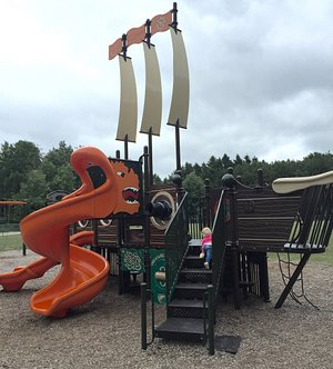The kiddos favorite park in Ludington, a pirate ship and the beach is just steps away!