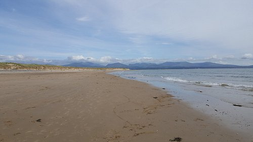 Newborough Beach looking towards Snowdonia