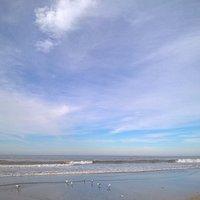 """""""Playa de Pinamar. Invierno, día soleado, ideal para una caminata bien abrigados por la playa """""""