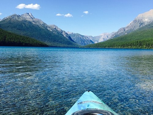 Kayaking on crystal clear water