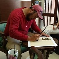 calligraphy workshop at Altan Khaan Gallery