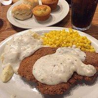 Big plate of pretty decent chicken fried chicken.