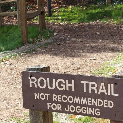 Despite the sign warning of the rough trail, people jog here all the time.