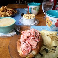Fried sea food appetizer, clam chowder and lobster roll at Lighthouse Restaurant