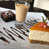 Trio of Dessert. Homemade Mango cheese cake, Masala chai pannacotta and warm chocolate brownie