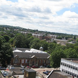 A view of the Dartford Borough Museum from the tower of Holy Trinity Church