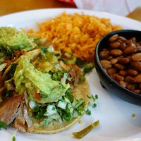 pork tacos with rice and freshly baked beans - YUMMY!