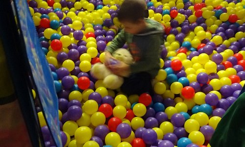Grandson Noah playing in ball area
