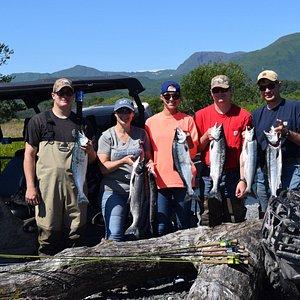Successful day of sockeye salmon fishing with Reel Extreme Alaska