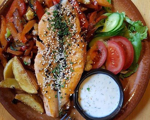 Рыба с овощами гриль.