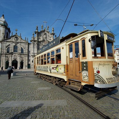 Historic tram in front of Carmo. Great Historical Porto Tram tour!