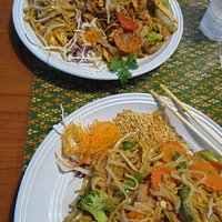 Drunken Noodle and Pud Thai--perfect noodles and vegetables