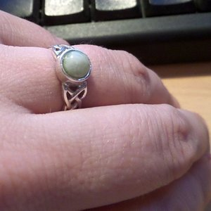 A Celtic style ring from Pebbles with inlaid Iona marble