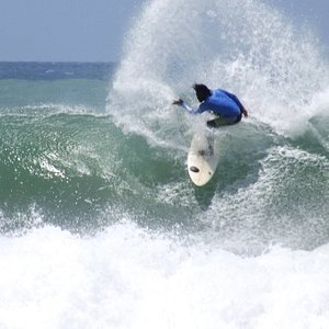 Our instructor surfing at Main Point