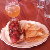The Char Dog with homemade chips.