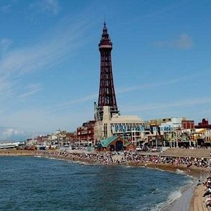 view of blackpool tower from the sea front