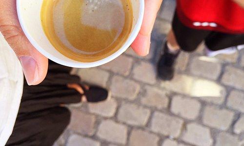 espresso at the Saturday morning market Saint-Antonin-Noble-Val