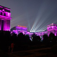 Outside the Dalian Rocks Museum at night in the summertime