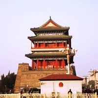 Qian Men or the Front Tower under the sunset in Beijing China