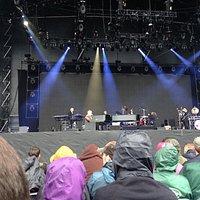 Elton John in the rain