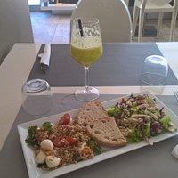 Farro with tomatoes & mozzarella + chicken salad
