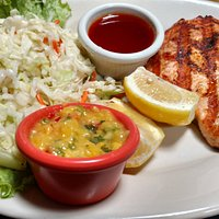 "The ""Spicy Salmon FIllet"" lunch special with regular coleslaw."