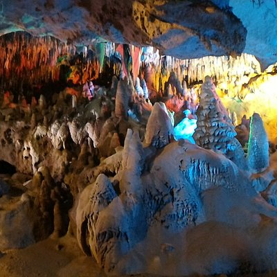 Christmas Land room inside the cavern. It is supposed to look like snow and Christmas trees.