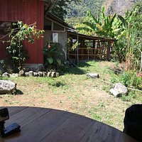 A view of the lounge area from our outdoor table. The lounge over looks the river and mountains.
