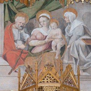 Particolare Retablo di San Giorgio: Sacra Famiglia con Sant'Anna