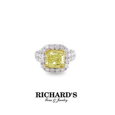 Cushion-cut Yellow Diamond on White Gold Diamond Setting from Richard's Gems & Jewelry