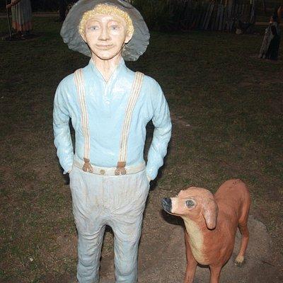Wook-Koo Park Man & Dog Sculpture