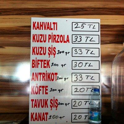 Isletmenin fiyat listesi