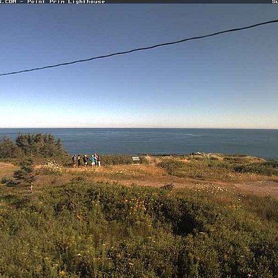 This picture is actually from the webcam at the point and show our group beginning our tour.