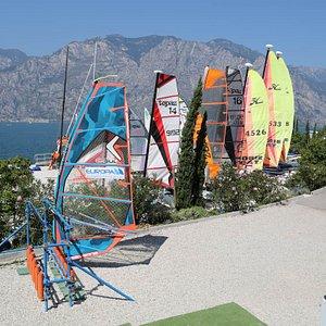Catamarans and a windsurfer