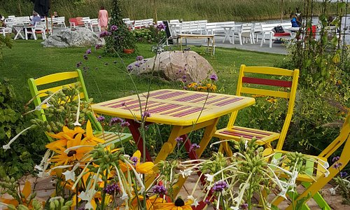 Outdoor seating near the lake