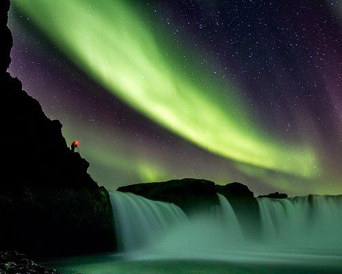 Goðafoss under the Northern Lights