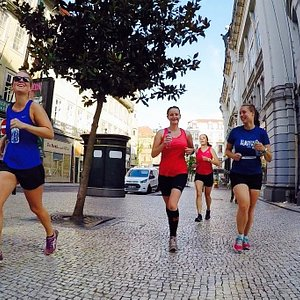 Running though the city centre of Porto