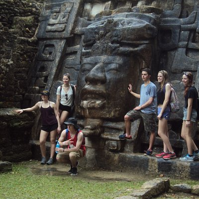 Our student group visting the beautiful Mayan site in Northern Belize Lamanai