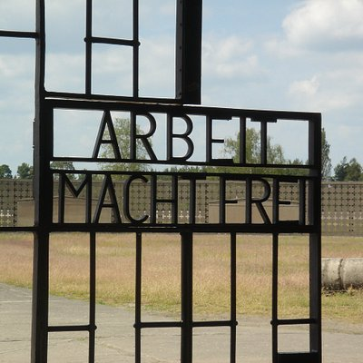 Walk through the powerful entry gates of the Sachsenhausen Memorial