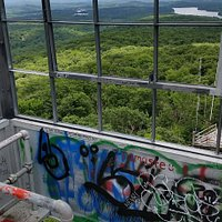 Lots of graffiti inside the fire tower