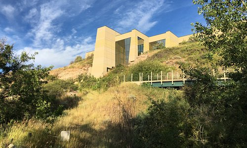 View of the Interpretive Center from the river. There are many walking trails around the center.
