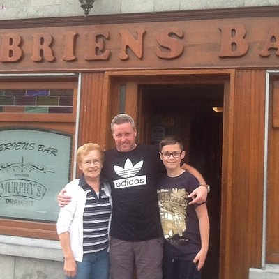 Myself my son and the wonderful landlady Mary just standing outside obriens bar in churchtown