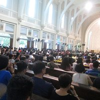 The St. Clement's Church is overflowing with church goers every Sunday. The ceiling looks heaven