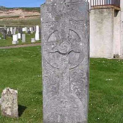The Farr Stone at the west gable of the Strathnaver Museum