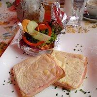 Ham-cheese Toast; notice salad in swann