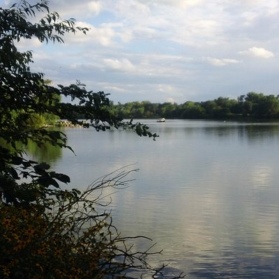 A view from the north end of the lake on the 1.6 mile walking path.